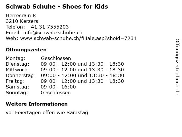 Schwab Schuhe - Shoes for Kids in Kerzers: Adresse und Öffnungszeiten