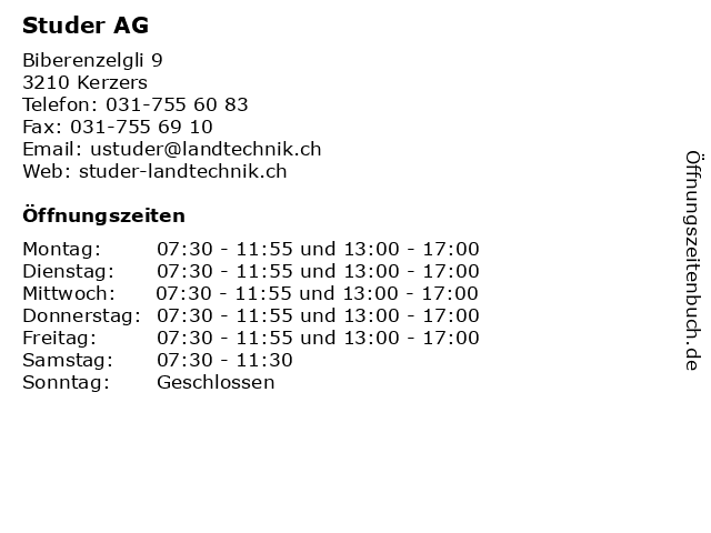 Studer AG in Kerzers: Adresse und Öffnungszeiten
