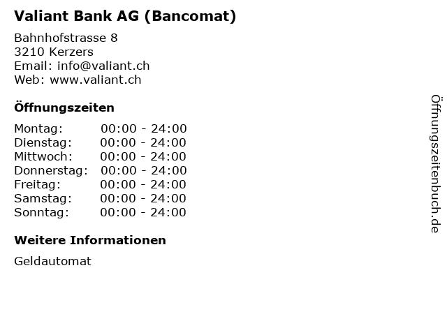Valiant Bank AG (Bancomat) in Kerzers: Adresse und Öffnungszeiten