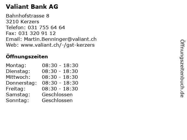 Valiant Bank AG in Kerzers: Adresse und Öffnungszeiten