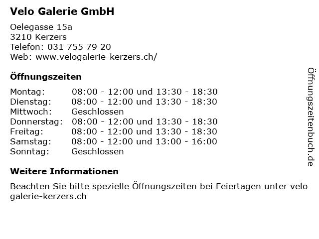 Velo Galerie Kerzers in Kerzers: Adresse und Öffnungszeiten