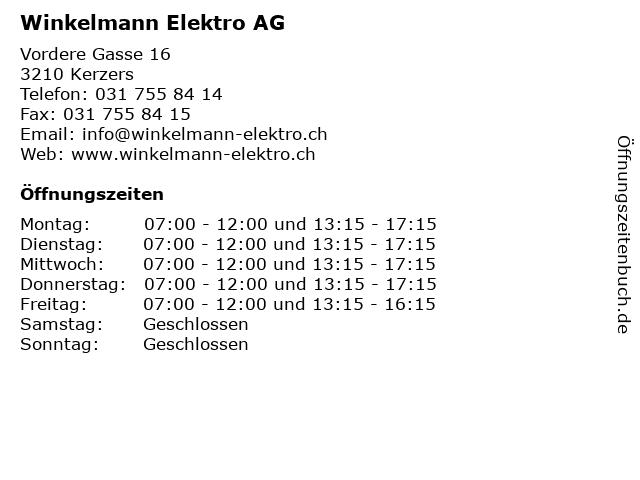 Winkelmann Elektro AG in Kerzers: Adresse und Öffnungszeiten