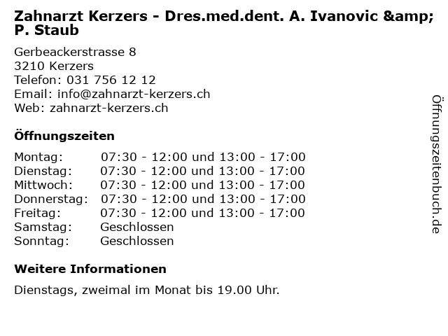 Zahnarzt Kerzers - Dres.med.dent. A. Ivanovic & P. Staub in Kerzers: Adresse und Öffnungszeiten