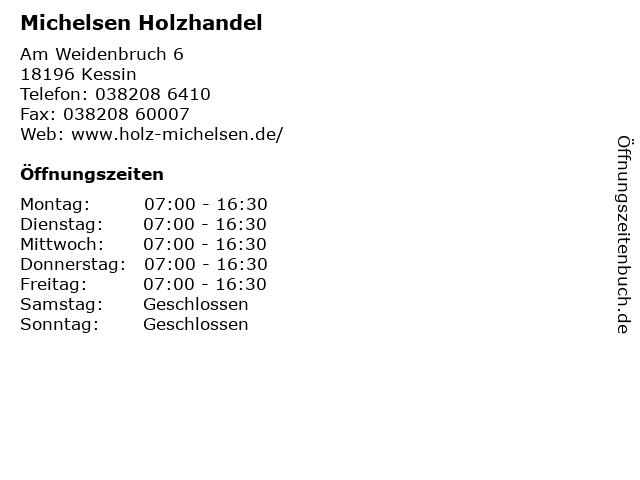 Michelsen Holzhandel in Kessin: Adresse und Öffnungszeiten