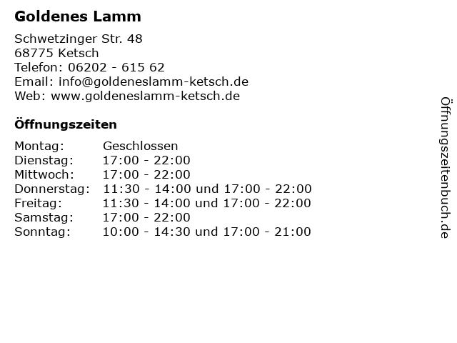 Goldenes Lamm in Ketsch: Adresse und Öffnungszeiten