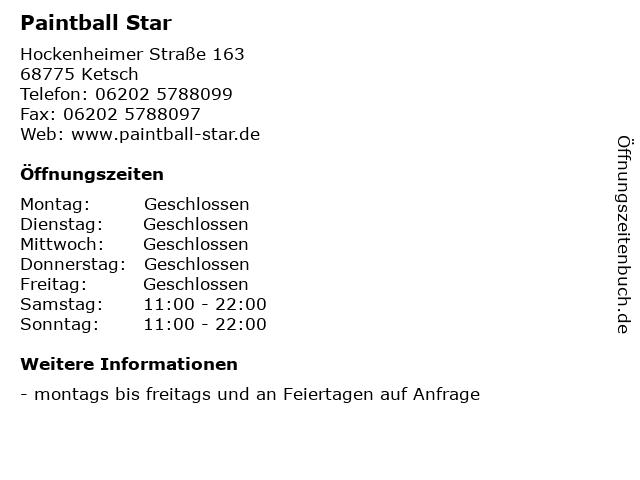 Paintball Star in Ketsch: Adresse und Öffnungszeiten