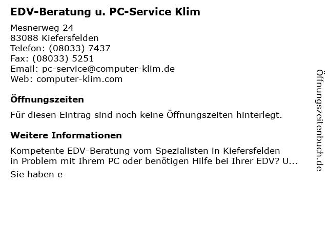 EDV-Beratung u. PC-Service Klim in Kiefersfelden: Adresse und Öffnungszeiten