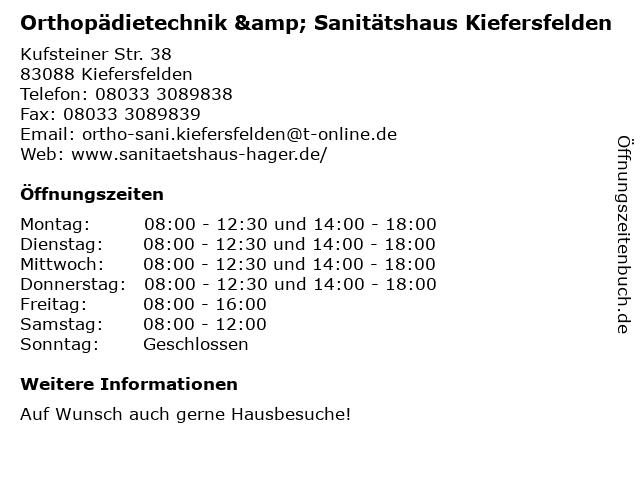 Orthopädietechnik & Sanitätshaus Kiefersfelden in Kiefersfelden: Adresse und Öffnungszeiten