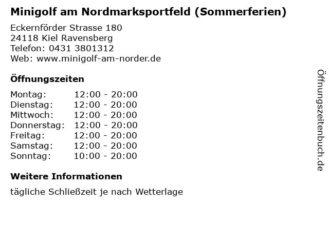 Minigolf am Nordmarksportfeld (Sommerferien) in Kiel Ravensberg: Adresse und Öffnungszeiten