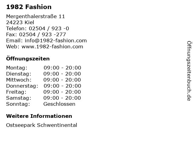 1982 Fashion in Kiel: Adresse und Öffnungszeiten