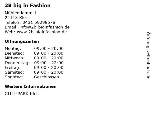 2B big in Fashion in Kiel: Adresse und Öffnungszeiten
