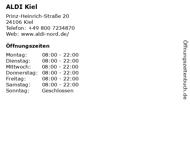 ALDI Nord in Kiel: Adresse und Öffnungszeiten