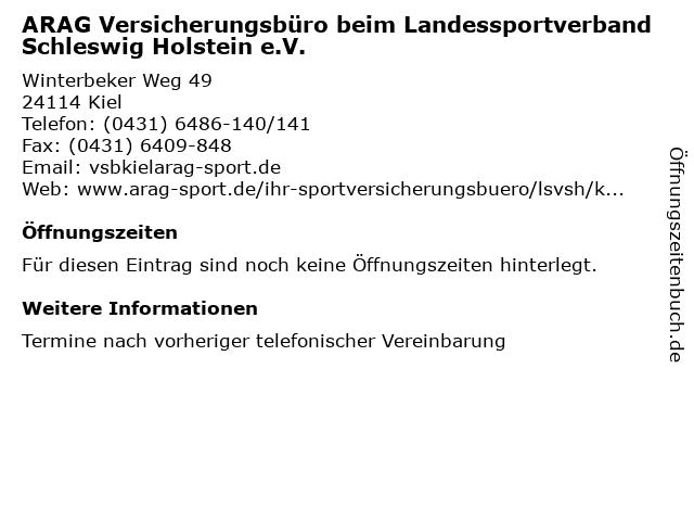 ARAG Versicherungsbüro beim Landessportverband Schleswig Holstein e.V. in Kiel: Adresse und Öffnungszeiten