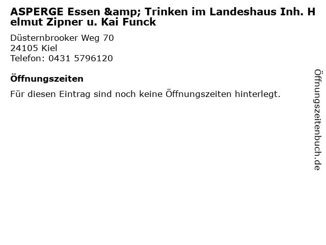 ASPERGE Essen & Trinken im Landeshaus Inh. Helmut Zipner u. Kai Funck in Kiel: Adresse und Öffnungszeiten