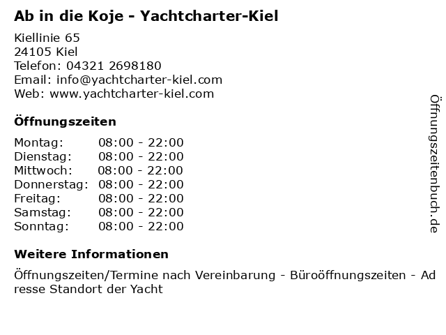 Ab in die Koje - Yachtcharter-Kiel in Kiel: Adresse und Öffnungszeiten