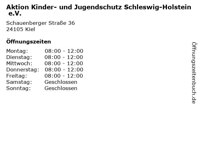 Aktion Kinder- und Jugendschutz Schleswig-Holstein e.V. in Kiel: Adresse und Öffnungszeiten