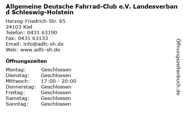 Allgemeine Deutsche Fahrrad-Club e.V. Landesverband Schleswig-Holstein in Kiel: Adresse und Öffnungszeiten