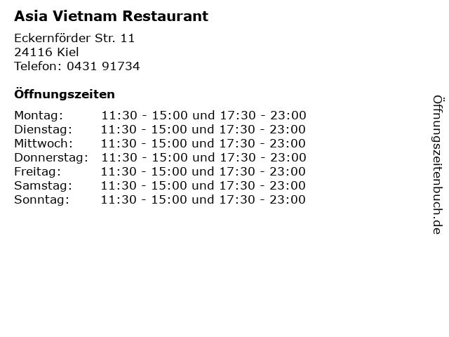 Asia Vietnam Restaurant in Kiel: Adresse und Öffnungszeiten