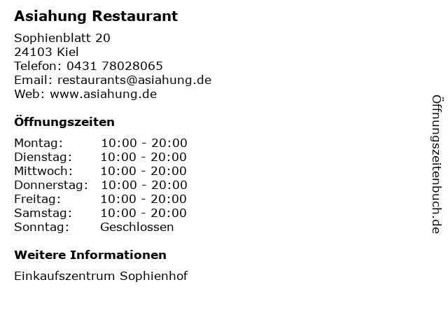 Asiahung Restaurant in Kiel: Adresse und Öffnungszeiten