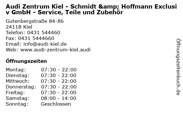 Audi Zentrum Kiel - Schmidt & Hoffmann Exclusiv GmbH - Service, Teile und Zubehör in Kiel: Adresse und Öffnungszeiten