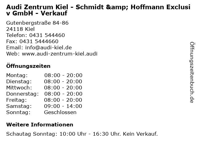 Audi Zentrum Kiel - Schmidt & Hoffmann Exclusiv GmbH - Verkauf in Kiel: Adresse und Öffnungszeiten