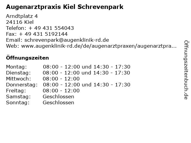 Augenarztpraxis Kiel Schrevenpark in Kiel: Adresse und Öffnungszeiten