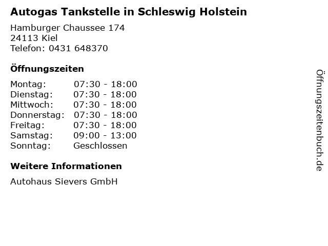 Autogas Tankstelle in Schleswig Holstein in Kiel: Adresse und Öffnungszeiten