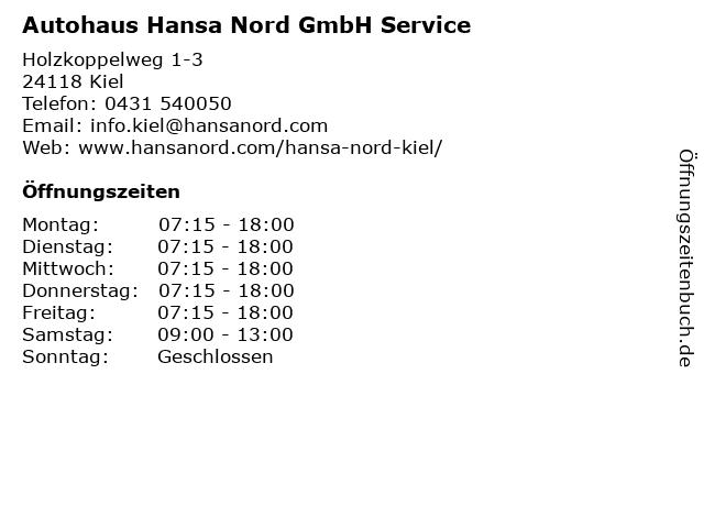 Autohaus Hansa Nord GmbH Service in Kiel: Adresse und Öffnungszeiten