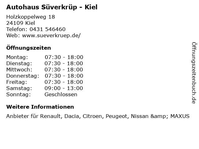 Autohaus Süverkrüp GmbH + Co KG - Verkauf in Kiel: Adresse und Öffnungszeiten