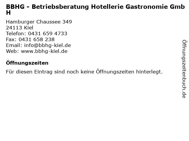 BBHG - Betriebsberatung Hotellerie Gastronomie GmbH in Kiel: Adresse und Öffnungszeiten