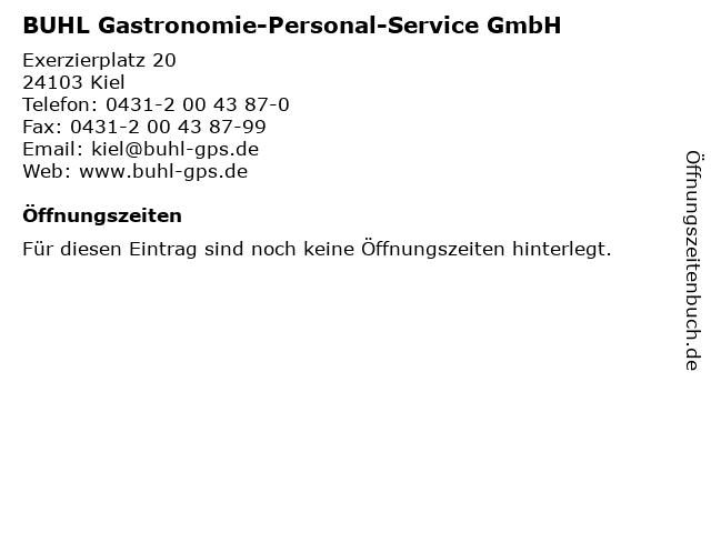 BUHL Gastronomie-Personal-Service GmbH in Kiel: Adresse und Öffnungszeiten