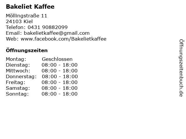 Bakeliet Kaffee in Kiel: Adresse und Öffnungszeiten