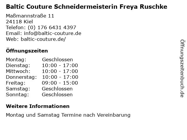 Baltic Couture Schneidermeisterin Freya Ruschke in Kiel: Adresse und Öffnungszeiten