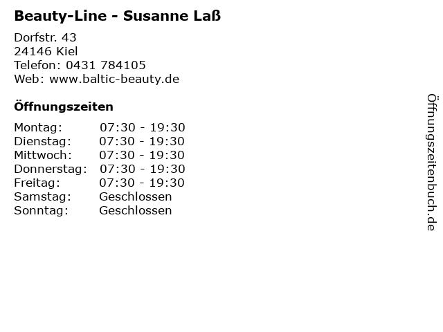 Beauty-Line - Susanne Laß in Kiel: Adresse und Öffnungszeiten