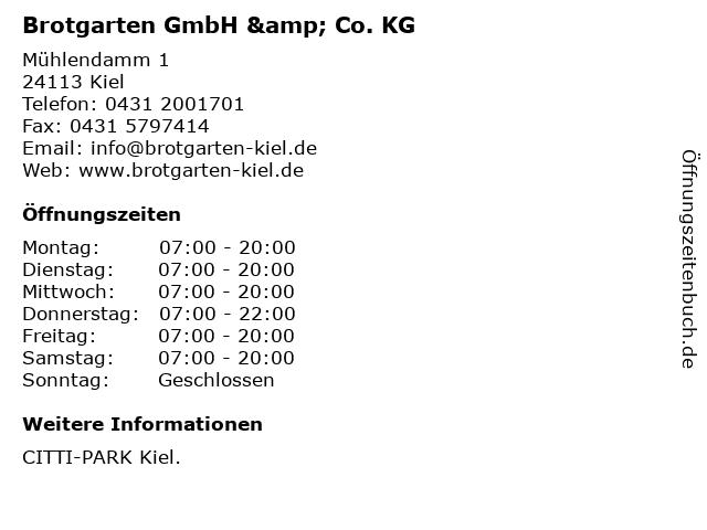 Brotgarten GmbH & Co. KG in Kiel: Adresse und Öffnungszeiten