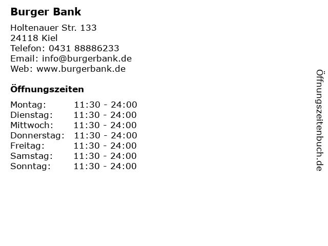Burger Bank in Kiel: Adresse und Öffnungszeiten