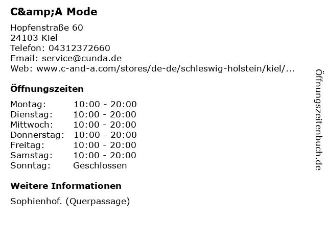 C&A Mode GmbH & Co. KG in Kiel: Adresse und Öffnungszeiten