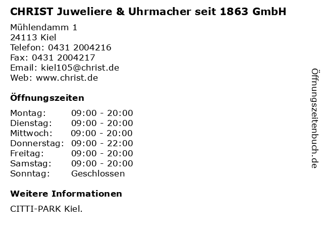 CHRIST Juweliere & Uhrmacher seit 1863 GmbH in Kiel: Adresse und Öffnungszeiten