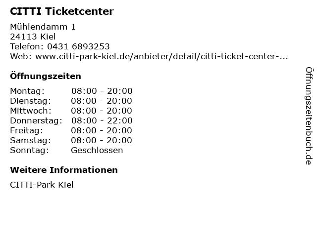CITTI Ticketcenter in Kiel: Adresse und Öffnungszeiten