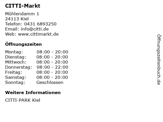 CITTI-Markt in Kiel: Adresse und Öffnungszeiten