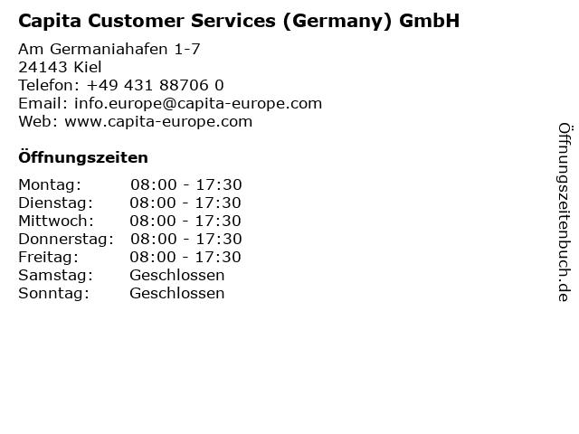 Capita Customer Services (Germany) GmbH in Kiel: Adresse und Öffnungszeiten