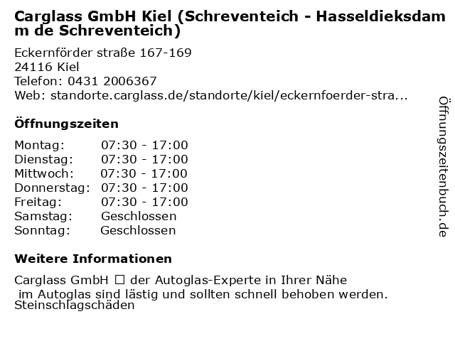Carglass GmbH Kiel (Schreventeich - Hasseldieksdamm de Schreventeich) in Kiel: Adresse und Öffnungszeiten