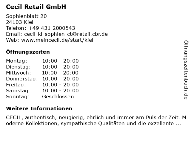 Cecil Retail GmbH in Kiel: Adresse und Öffnungszeiten