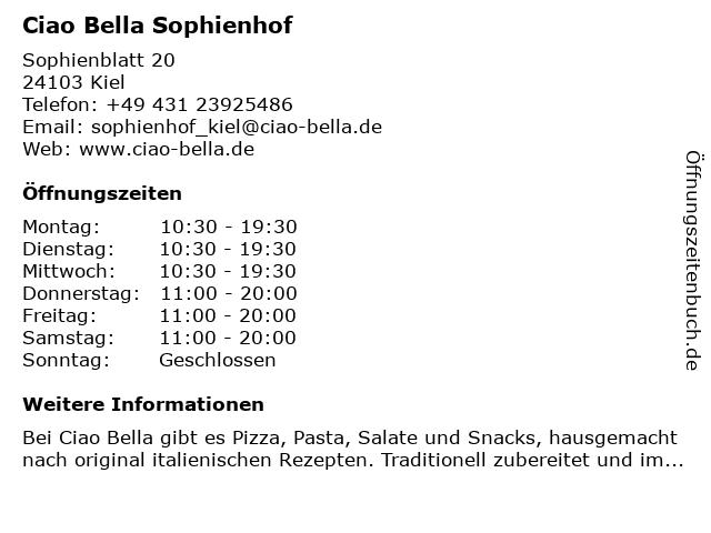 ciao bella Sophienhof in Kiel: Adresse und Öffnungszeiten