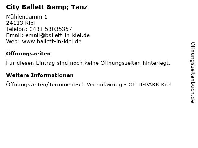 City Ballett & Tanz in Kiel: Adresse und Öffnungszeiten
