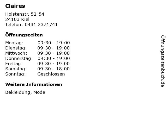 Claires in Kiel: Adresse und Öffnungszeiten