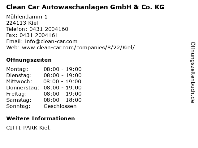 Clean Car Autowaschanlagen GmbH & Co. KG in Kiel: Adresse und Öffnungszeiten