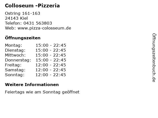 Colloseum -Pizzeria in Kiel: Adresse und Öffnungszeiten