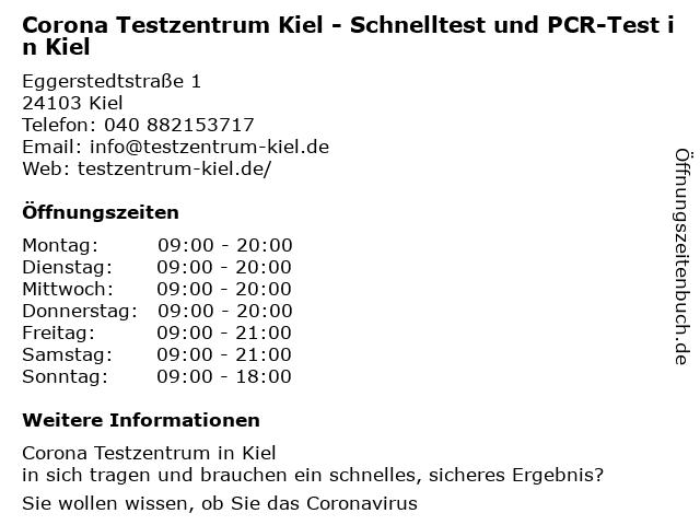 Corona Testzentrum Kiel - Schnelltest und PCR-Test in Kiel in Kiel: Adresse und Öffnungszeiten