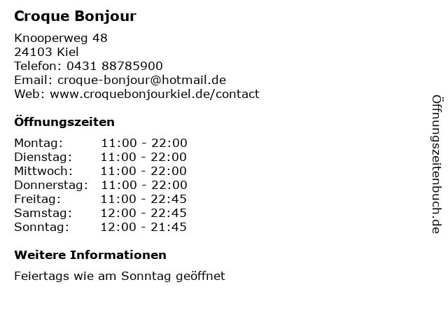 Croque Bonjour in Kiel: Adresse und Öffnungszeiten